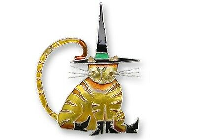 """Halloween Cat Pin, Zarah """"Pointy Witch Hat"""", Silver Plated, Hand Painted Enamel"""