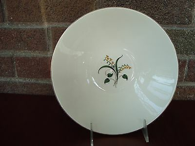 """Mid Century Edwin Knowles China Forsythia Yellow Flower 8.75"""" Round Serving Bowl"""