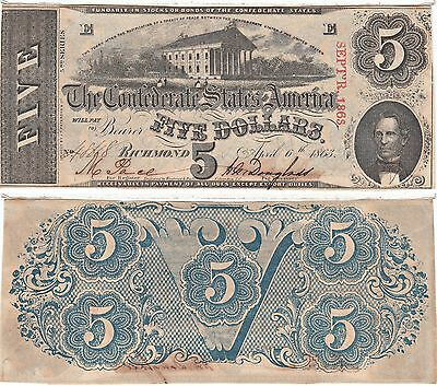 1863 $5 Confederate States Note Cr-450/5 T-60 Capitol Almost Uncirculated