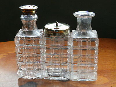 Vintage glass and EPNS condiment set