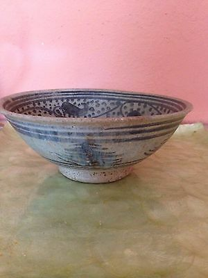 Vintage Thai? Celadon Pottery Bowl. 7 2/8''w X 3'' Estate Find
