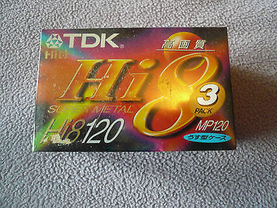 TDK Hi8 Super Metal MP 120 Camcorder Videotape 3 PACK New Unopened
