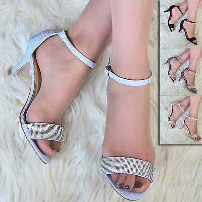 Womens Low Heel Sandals Peep Toe Sparkly Shoes Ladies Barely There Ankle Strap