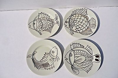 Rare Vintage 1970s Fitz and Floyd Plates Les Fish Pattern Brown and White Four