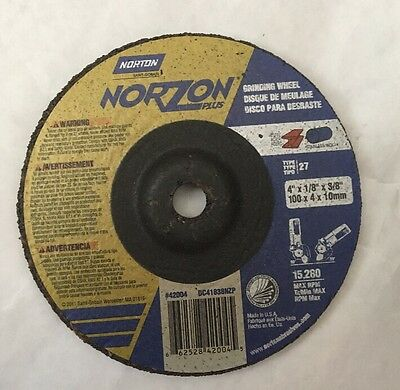 NORTON 4''x 18'' x 3/8'' TYPE 27 GRINDING WHEEL  BOX OF 25