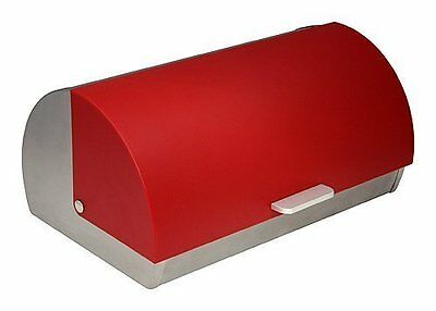 ZUCCOR Genoa Brushed Stainless Steel Bread Box/Storage Box with Red Polystyrene
