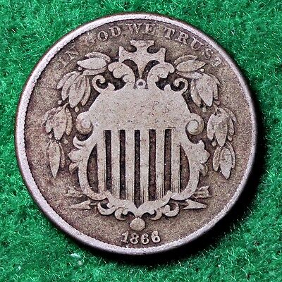1866 SHIELD NICLEL in VERY GOOD (VG) CONDITION