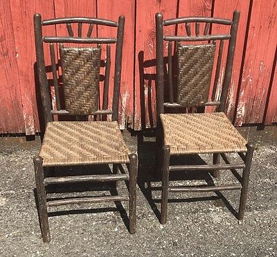 Pair Of Antique Old Hickory Side Chairs