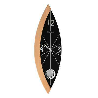 Contemporary Beech & Black Pendulum Wall Clock w Glass Dial
