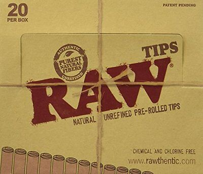Raw Natural Unrefined Pre-Rolled Filter Tips Full Box Of 20 Pack ( 21 Per Box )