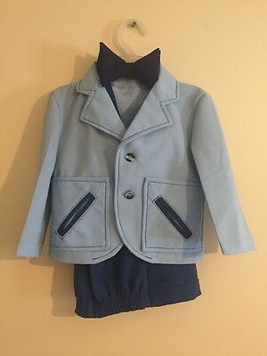Vintage 1970s Boy's Child's Powder Blue Polyester Deluxe Tuxedo 2T FREE SHIPPING