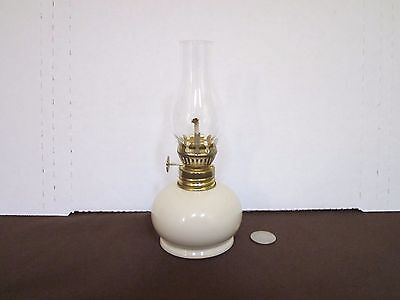 "Decorative oil lamp cream color painted glass base clear top design 7"" tall"