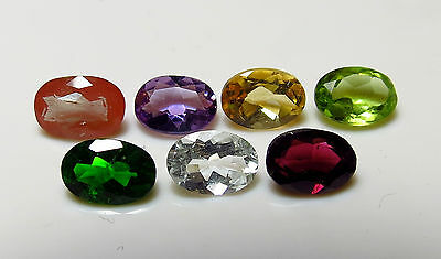 7pc 5x7mm FACETED GEMSTONE SET - CHROME DIOPSIDE GARNET ANDESINE AMETHYST rough
