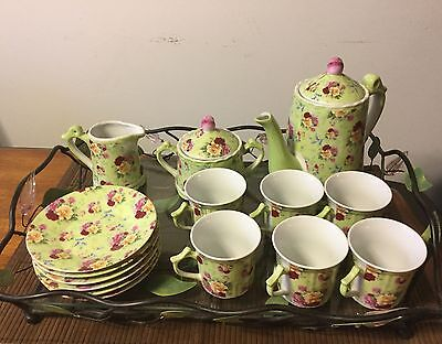Tea Set Service For 6 Ceramic W/Tray 18 Piece