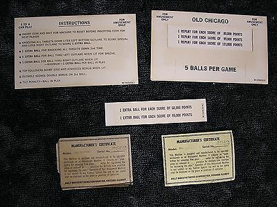 Bally Old Chicago Instruction Card, Score Card, Score Card Insert