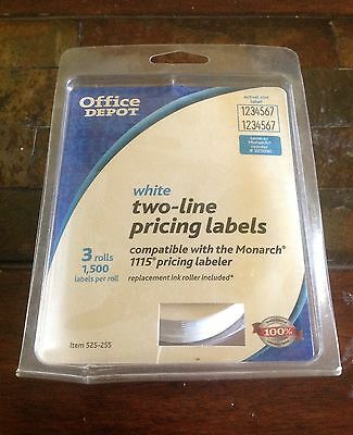 Office Depot White Two-line Pricing Label 3 Rolls 1,500 Labels Per Roll NEW