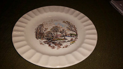 Semi Vitreous M. Knowles Winter Scene Plate