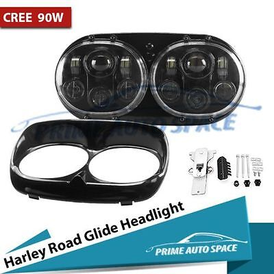 Black Dual LED Headlight Assembly Road Glide 90W Hi/Lo Beam for Harley-Davidson