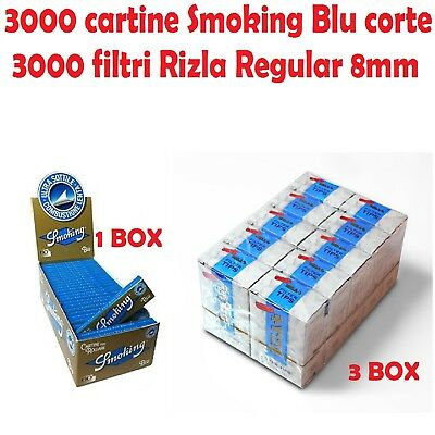 3000 CARTINE SMOKING BLU CORTE 3000 FILTRI RIZLA REGULAR 8mm