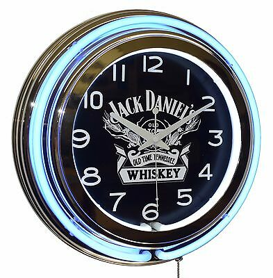 """Jack Daniel's Old No. 7 Tennessee Whiskey 15"""" Blue Double Neon Advertising Clock"""