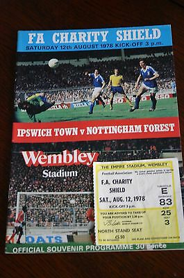 Ipswich Town v Notts Forest 1978 FA Charity Shield Programme + Ticket Stub