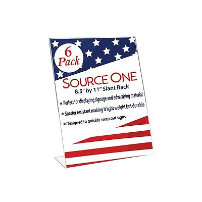 SOURCEONE.ORG Premium Clear 8.5 X 11-Inches Acrylic Slant Back Sign Holder, B...