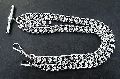 Solid Sterling Silver Hallmarked Pocket Watch Double Albert Curb Chain Heavy New