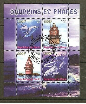 Benin 2008 Dolphins/lighthouses Sheet F/used