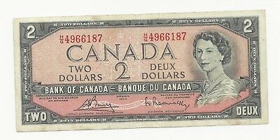 Canada 2 Dollars 1954 (1972-73) VF Banknote P-76c
