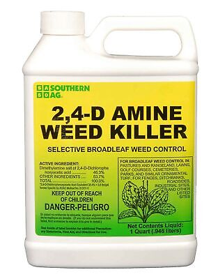Southern Ag 2,4-D Amine Weed Killer Selective Broadleaf Weed Control, 32oz - 1 Q