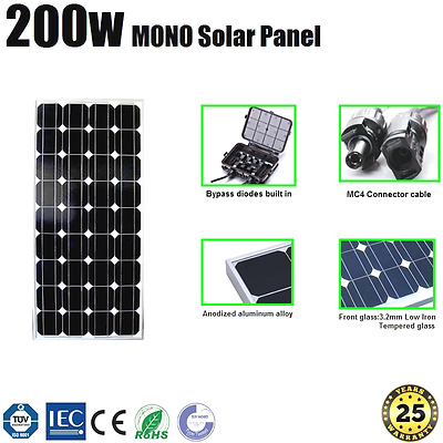 200W Solar Panel Mono Home Generator Caravan 12V Battery Charging Newest Module