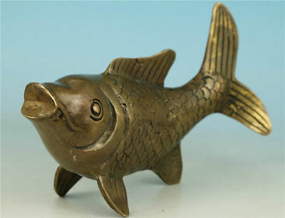 Chinese Old Brass Collectable Handwork Carved Lucky Fish Statue Figure Ornament
