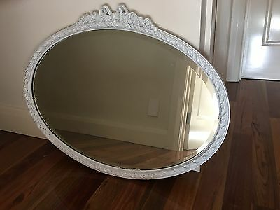 Decorative white oval mirror suit restoration aud for Fancy white mirror