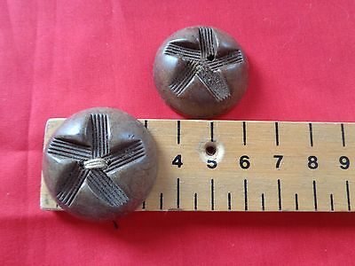 2 VINTAGE PALE BROWN LARGE COAT BUTTONS  3.5 cm long