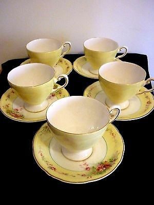 5 Art Deco Bone China Cups & Saucers - Royal Tuscan Cups & Aynsley Saucers