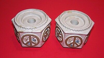 2 VINTAGE NAPCO WARE Octagon CANDLE HOLDERS IMPORT JAPAN PIECE SIGN