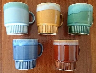 Set of 5 - Vintage Kitch Retro Stackable Mugs