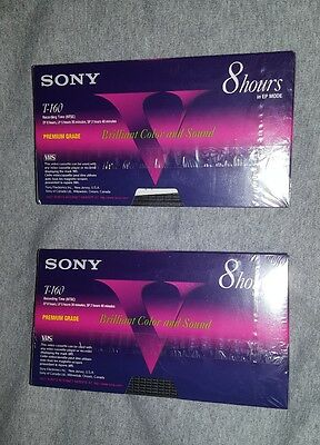 2 Sony T-160 8-hour Premium Grade Blank VHS Tapes, NEW! FACTORY SEALED!