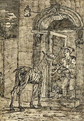 Disturbed by the Night Mare - Original mid-19th-century pen & ink drawing