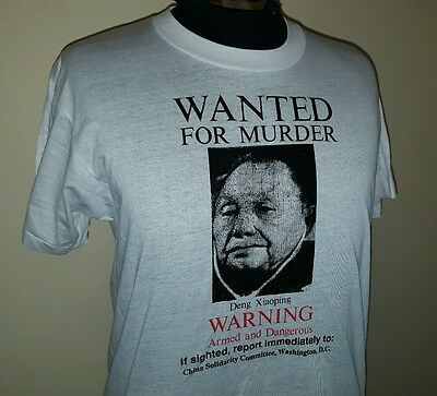 VTG 80s Deng Xiaoping WANTED Chinese Leader ~ Soft Thin White T Shirt ~ Large