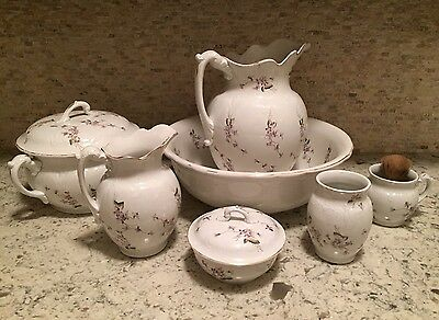 $900 Apprais ANTIQUE COMPLETE WASH VANITY CHAMBER Pot SET HORICAN  PITCHER BOWL