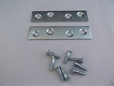 Bzp plated 75mm mending plates + screws pack of 20.