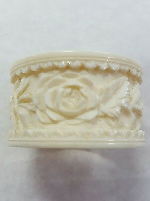 Antique Chinese 19Th Century Carved Bovine Bone  Ring Roses Flower