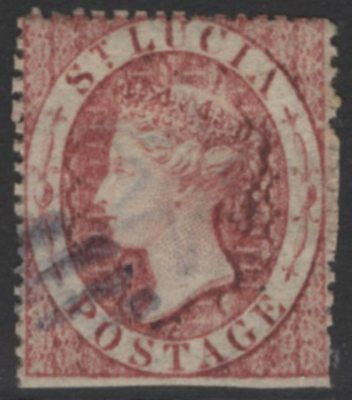 ST.LUCIA SG1 1860 1d ROSE-RED USED