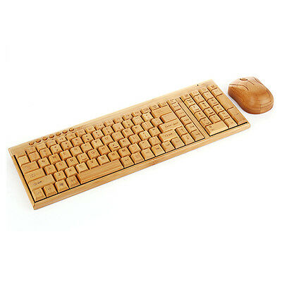 Handmade Bamboo PC Wireless Keyboard mouse- Eco BT T7N4