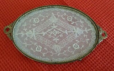 Antique Vanity Tray Gold Ormolu w/ Glass Encased Lace Doily Ornate Oval Bun Feet