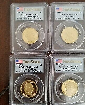 2007 S Presidential Dollar 4 Coin Proof Set PCGS PR69 DCAM First Strike FS $1