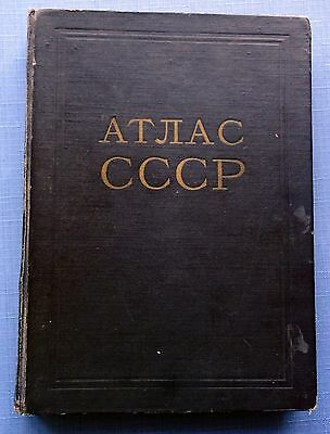1955 Soviet Russian Book USSR Atlas of the USSR Geography Maps Vintage