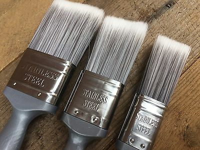 """HARRIS EASY CLEAN SYNTHETIC PAINT BRUSHES 1"""" 1 1/2"""" 2"""" SET OF 3 25mm 38mm 50mm"""