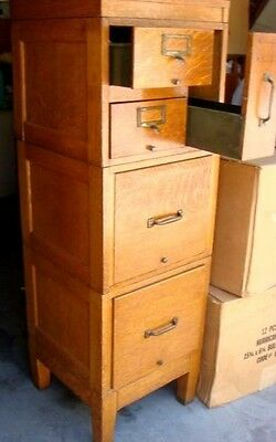VINTAGE GLOBE-WERNICKE FILE CABINET STACK ABLE  DRAWER LEGAL OAK 54x17x17 inches